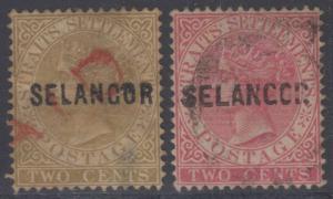 BC MALAYA SELANGOR 1882-83 Sc 6-7 FULL SET USED SCV$285.00