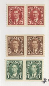 6x Canada MH Coil Stamp 3x Pairs #238-239-240 All MH VF Guide Value = $48.00