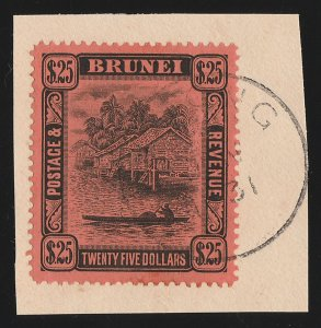 BRUNEI : 1908 View $25 black on red wmk multi crown.