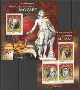 ST414 2016 SIERRA LEONE MUSIC COMPOSERS WOLFGANG MOZART KB+BL MNH STAMPS