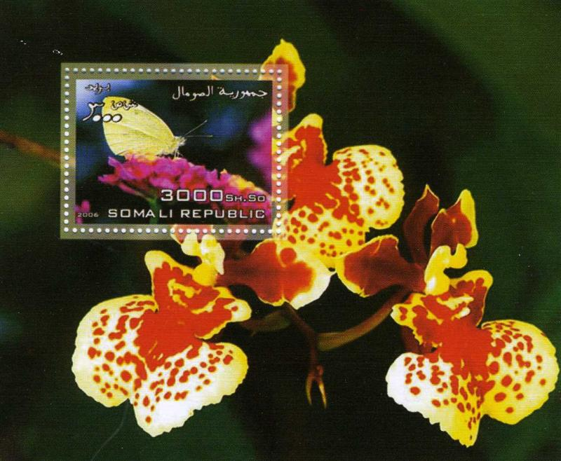 Somalia 2006 Butterflies & Orchids Souvenir Sheet Perforated mnh.vf