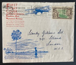 1937 Salisbury Southern Rhodesia First Day Airmail Cover FFC To London England