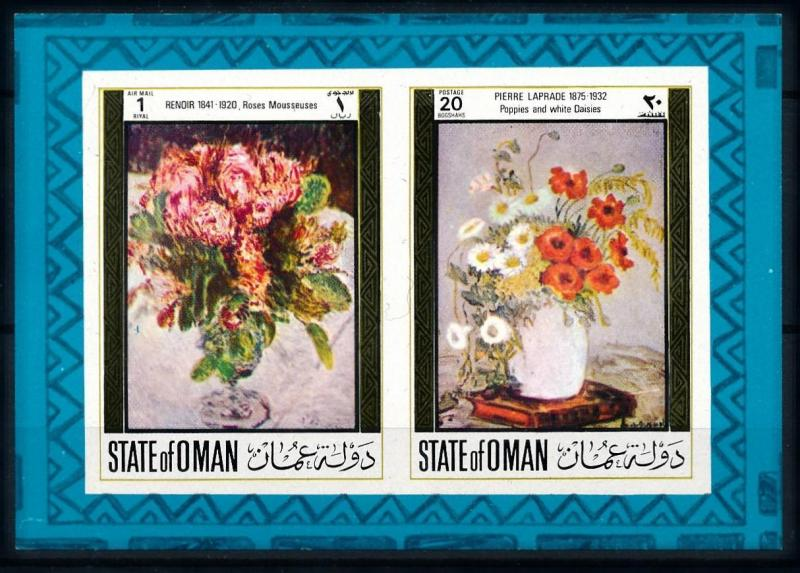 [96121] State of Oman  Art Paintings Flowers Rose Poppies Imperf. Sheet MNH