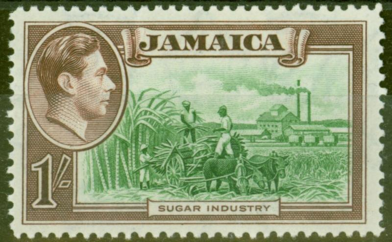 Jamaica 1938 1s Green & Purple-Brown SG130 V.F Very Lightly Mtd Mint