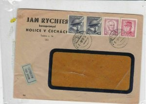 czechoslovakia 1946 airmail stamps cover ref 19678