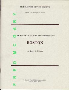 Heinen's Classic Monograph: Street Railway Post Offices of Boston