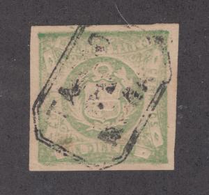 Peru Sc 14, Mi 15 used 1868-72 1d Coat of Arms, rare TAMBO DE MORA cancel, VF