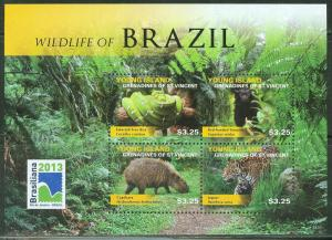 YOUNG ISLAND  2013 WILDLIFE  OF BRAZIL  SHEET   MINT NH