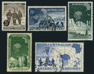 Australian AT L1-L5,used.Michel 1-5. South Pole expedition.Penguin,Truck,Map,