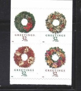 US Scott # 3245 - 3248 / 3248a Block of 4 Christmas Wreath's 1998