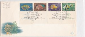 israel 1962 assorted fishes & seaweeds  stamps cover ref 21503