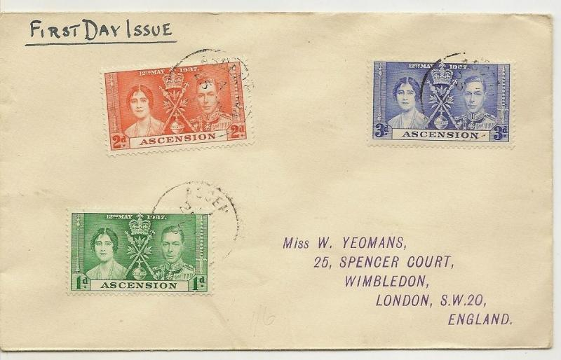 Ascension 1937 Coronation Cover to UK