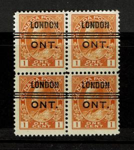 Canada SC# 105, Blk of 4, London Pre-cancel, Mint Never Hinged, see notes -S2664