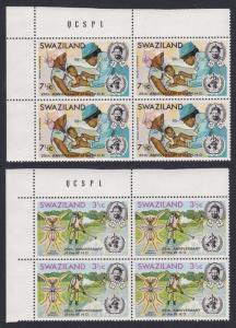 Swaziland 25th Anniversary of WHO 2v Upper Left Corner Blocks of 4 SG#198-199