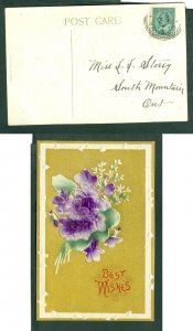 Canada. 1908 Postcard.  Best Wishes Flowers Embossed. Sc# 89.