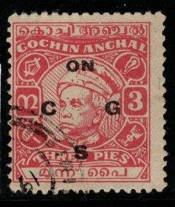 INDIA-COCHIN SGO92 1948 3p CARMINE USED
