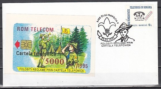 Romania, 1995 issue. Scout cancel on Scout Telephone Card Cachet Envelope. ^