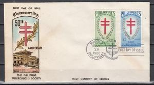 Philippines, Scott cat. 819-820. T-B Society issue. First day cover.