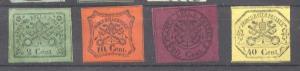 Italy Church State 1867 Coat of arms, 2C,10C,20C,40C, Mi.12,15,16,17, MH     ...