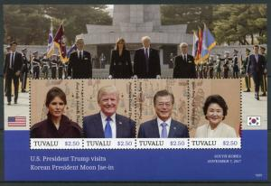 Tuvalu Stamps 2018 MNH Donald Trump Visits Korean President Moon Jae-in 4v M/S