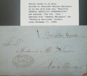 RO) 1868 BOLIVIA, ENTIRE LETTER WRITTEN PRESIDENT MARIANO MELGAREJO