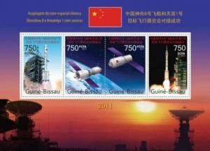 Guinea-Bissau – China Spaceships – 4 Stamp Sheet – GB11715a