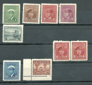 Canada #249, 250, 251, 252, 254 (Pair), 255, 256  Mint NH VF 1942-43     PD