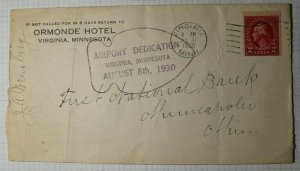 US Airport Dedication Virginia MN 1930 Used Cover Sc# 634d Booklet Single Signed