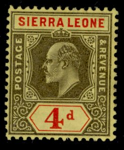 SIERRA LEONE EDVII SG105, 4d black and red/yellow, M MINT.