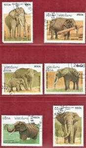 LAOS STAMPS SC# 1329-34  *CTO* 1997   ELEPHANTS  SEE SCAN