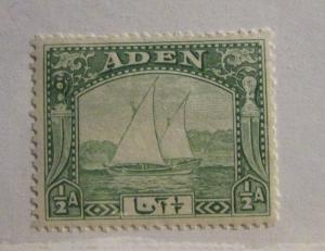 ADEN Scott #1 * MH Sailboat ½ Anna stamp, fine + 102 card