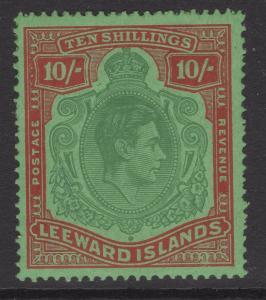 LEEWARD ISLANDS SG113b 1945 10/= GREEN & RED/GREEN ORD.PAPER MTD MINT