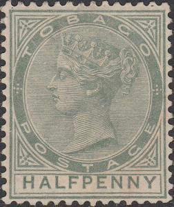 TOBAGO - 1886 - SG20 - 1/2d dull green Wmk Crown CA, p.14 - Mint No Gum