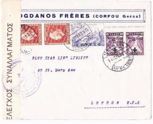 Greece 1938 Cover CORFU KEPKYPA Blue Star Line London CONTROLE DU CHANGE