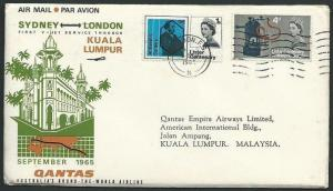 GB 1965 QANTAS first flight cover London to K.L. Malaysia. Lister phos set.38926