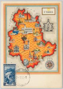 ITALY : MAXIMUM CARD 1953 - Serie LAVORO : UMBRIA