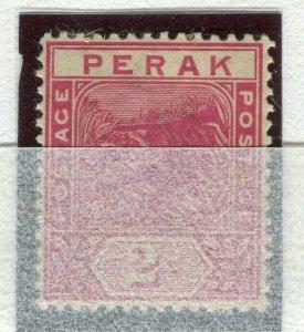 MALAYA PERAK; 1892 early classic Tiger issue Mint unused 2c. value