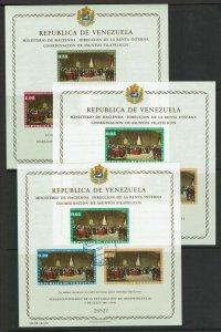 Venezuela 3 Souvenir Sheets, Never Hinged & cancelled, few minor creases - M471