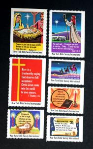 New York Bible Society International Religious Xmas Stamps (Lot of 7) Mint