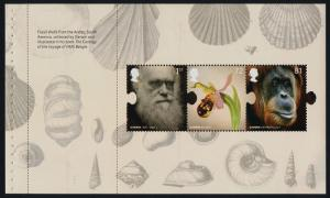 Great Britain 2632a Booklet Pane MNH Charles Darwin, Orchid, Orangutan