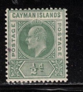 CAYMAN ISLANDS Scott # 21 MH - KEVII Definitive - Small Ink Spot At Left
