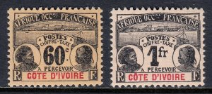 IVORY COAST — SCOTT J7, J8 — 1906 HIGH VALUE POSTAGE DUES — MH — SCV $67