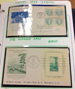 1937 US FDC collection of 9 different cachets, nice covers