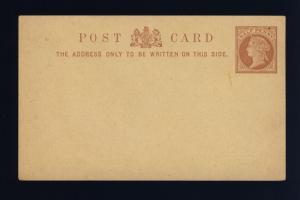 GB - QV 1878 1/2d light brown POSTAL CARD (123x74mm) on thin buff card - mint
