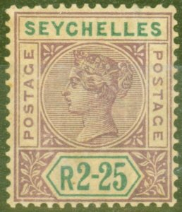 Seychelles 1900 2R25 Brt Mauve & Green SG36a Repaired S Good Mtd Mint Rare CV...