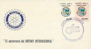 Costa Rica Rotary Internatinal 75th Anniv. Sc C778-C779 FDC 1980