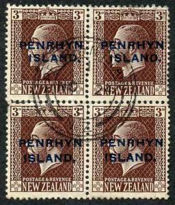 Penrhyn Island SG30/a 1 1/2d Slate top stamps NARROW SPACING Block of 4