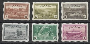 Doyle's_Stamps: Scott #268** to #273** Canadian 1946 NH Postage Stamp Set
