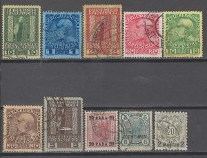 COLLECTION LOT # 3619 AUSTRIA OFFICES 10 STAMPS 1888+ CV+$16