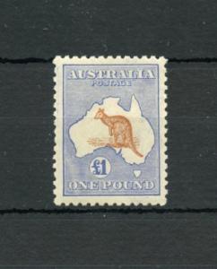 AUSTRALIA  SCOTT#56 ONE POUND KANGAROO MINT HINGED FRESH PRISTINE SCOTT $3000.00
